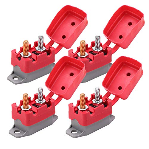 Ampper DC 12V - 24V Automatic Reset Circuit Breaker with Cover Stud Bolt for Automotive and More (30A, 4Pcs)