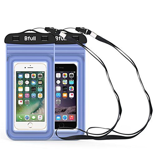 [2 Packs] Bfull Waterproof Phone Case With Dual Waterproof Measures, Universal Cell Phone Dry Bag Pouch for Outdoor Activities for Devices up to 6.0'' (Blue)