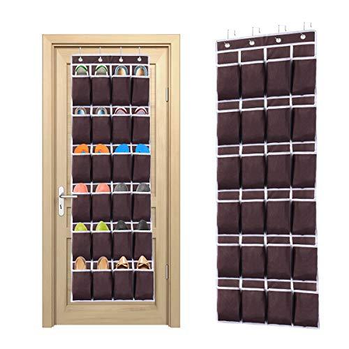 Ecbrt - Organizador de zapatos (para colgar sobre la puerta, 24 bolsillos, con 4 ganchos de metal)