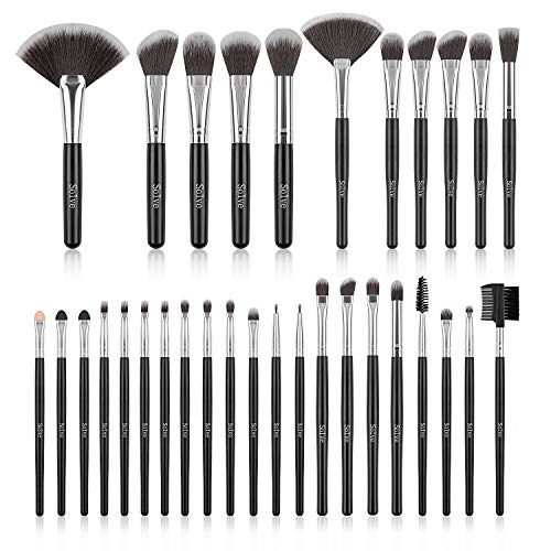 Makeup Brush Set SOLVE 32 Pieces Professional Makeup Brushes Wooden Handle Cosmetics Brushes Foundation Concealer Powder Face Eye Make up Brushes Kit Black