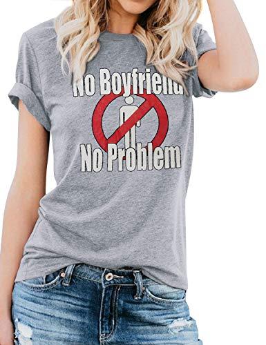 YNALIY No Boyfriend No Problem T Shirt Damen Luftige Oberteile Sprüche Print Kurzarm Tops Neuheit Geschenk