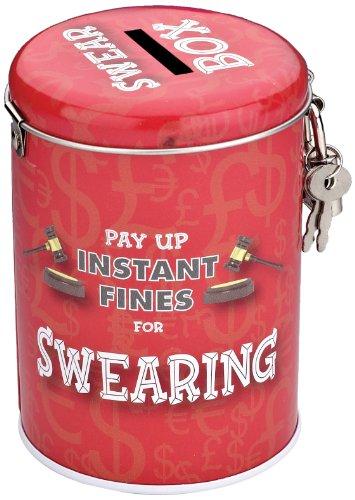 BOXER Gifts Tirelire Humoristique Pay Up Instant Fines étain, Lançant des jurons