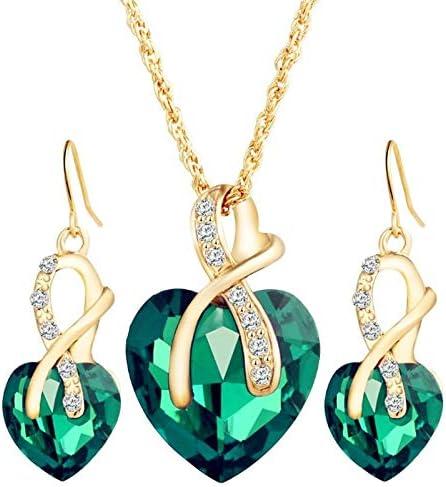 Jiahee Love Crystal gem Inlaid Pendant Earrings Necklace Set, Wedding Bride Jewelry Set Very Good (Color : Green)