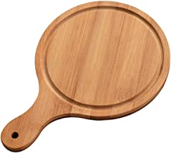 Round Bamboo Pizza Tray With Handle Homemade Pizza Bread Pan Multi-size Baking Dish Cutting Board Kitchen Accessory Sustai...