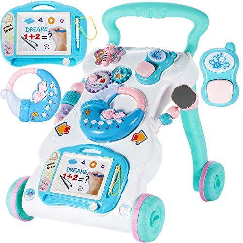 MalPlay Laufwagen 3 in 1 mit Zaubertafel, Piano und Baby Handy   Lauflernhilfe Gehhilfe Musik und Spielzeugen   Lauflernwagen für Babys ab 6 Monaten