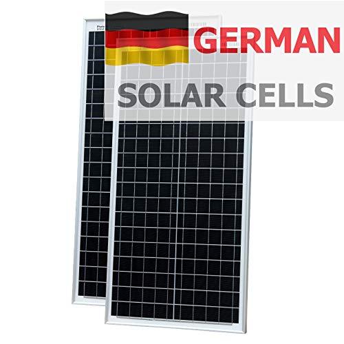 Photonic Universe Panneaux solaires 80 W (40 W + 40 W) en cellules solaires allemandes avec 2 câbles de 5 m pour camping-car, caravane, bateau ou tout système de batterie 12 V/24 V.