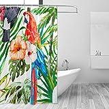 LUPINZ Wasserfarbener Duschvorhang mit Hibiskus & Papageien für Badezimmer, 152,4 x 182,9 cm