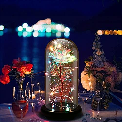 Cozime Rosa Eterna Rosas Bella y Bestia, Cúpula de cristal elegante, Ideal para enviar novia, esposas,Día de la Madre, Aniversario de Bodas, Cumpleaños