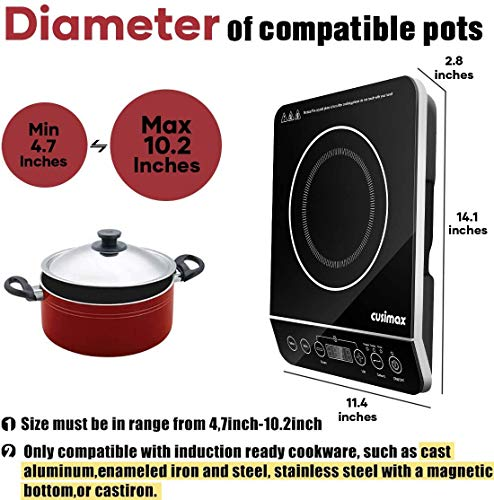 Product Image 3: Induction Cooktop, CUSIMAX 1800W Portable Induction Burner with Timer, Sensor Touch Countertop Burner, 10 Temperature and 9 Power Setting, Kids Safety Lock for Cast Iron, Stainless Steel Cookware
