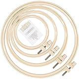 LAMXD Juego de aros de bordado redondo de 4 tamaños, de plástico, para manualidades, costura, incluye 16 agujas de coser de ojos dorados