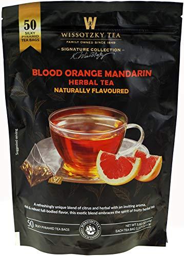 Wissotzky Tea Blood Orange Mandarin Herbal Tea (50 Silky Pyramid Tea Bags)