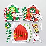 Baker Ross- Kit de Puerta de Elfo (4 Unidades) para Manualidades y Decoraciones de Navidad, Multicolor (AR738)