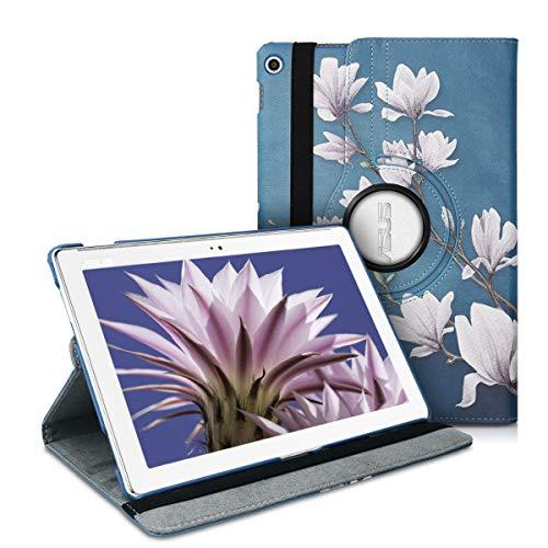 cover tablet asus kwmobile Cover Compatibile con ASUS ZenPad 10 (Z300) - Custodia per Tablet Rotazione 360° Stand Similpelle - Magnolie Marrone Grigio/Bianco/Grigio Blu