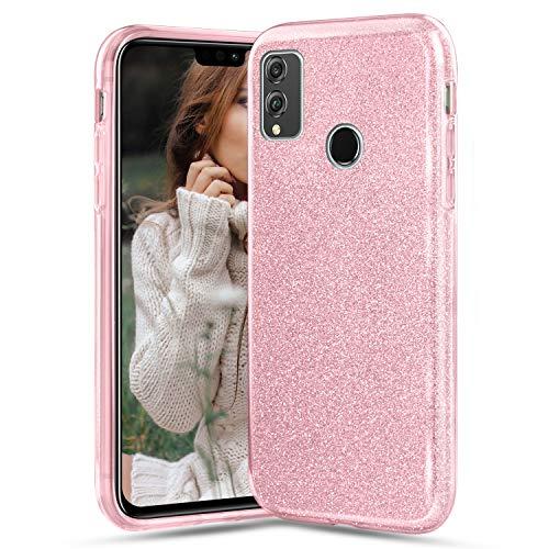 Compatible avec Huawei Honor View 10 Lite/ 8X Coque, Paillette Bling Glitter Étincelant Couleur Unie de Luxe Étui Ultra-Mince 360 Degres Protection Complète Doux Silicone TPU Housse AntiChoc - Rose