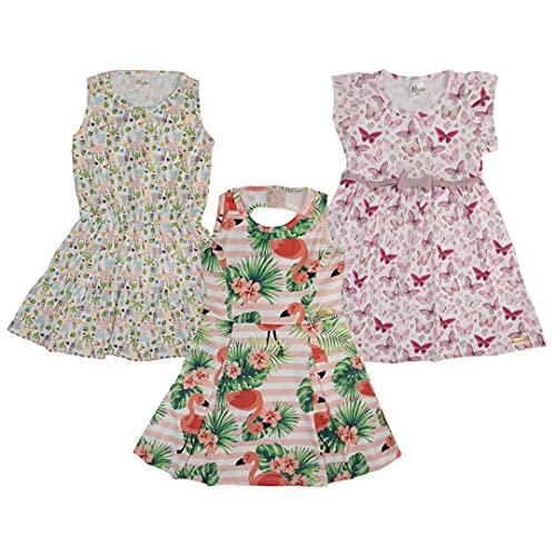 Kit 3 Vestidos Infantil Roupa Viés Lateral Meninas Algodão Desenho do tecido:Liso/Sortido;Tamanho:8