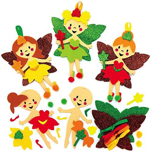 Baker Ross AX285 Herbstfee Mix & Match Deko Anhänger Bastelset für Kinder - 8 Stück, Festliche Kreativsets und Bastelbedarf zum Basteln und Dekorieren zur Weihnachtszeit