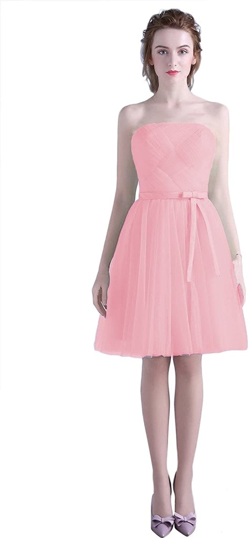 BessWedding Women's Elegant Short Strapless Pleated Tulle Prom Bridesmaid Dress