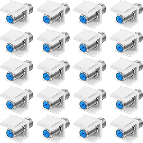 20 Pieces F-Type RG6 Trapezoidal Jack Insert Socket with Blue Inner Core, Coaxial Trapezoidal Jack Socket Gender Changer, Screw-Type Audio Speaker Trapezoid for Wall Plate Female to Female (Silver)