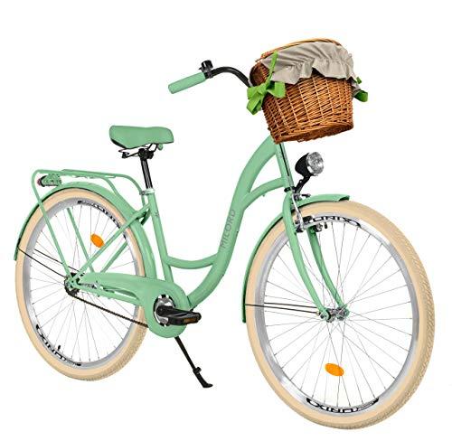 Milord Bikes Bicicleta de Confort Menta de 3 Velocidad y 28 Pulgadas con Cesta y Soporte Trasero, Bicicleta Holandesa, Bicicleta para Mujer, Bicicleta Urbana, Retro, Vintage