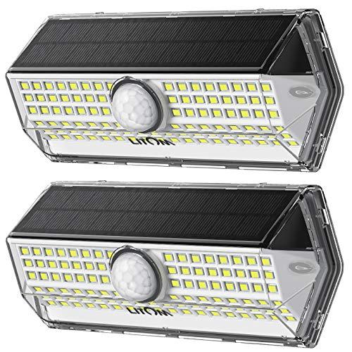 Luz Solar Exterior【Súper Brillante 4 modos】con Sensor de Movimiento, LITOM luces solares led exterior, IP67 Impermeable 100 LED Focos Led Exterior Solares Aplique Solar para Exterior Jardin (2 Pack)