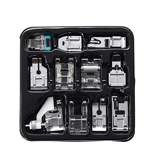 Lauriney 11PCS Máquina de Coser prensatelas Kit, Universal Hogares Broche de presión en la máquina de Coser del pie, for el Bordado, Cremallera, Botones, Cuentas y Arte de DIY.