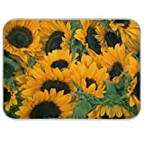 Double-sided Dish Drying Mat Sunflowers Kitchen Counter Mat Medium 16 x 18 Inches,Reversible, Super Absorbent