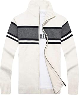 Mens Full-Zip Cardigan Sweater Stand Collar Striped Knitted Cardigans