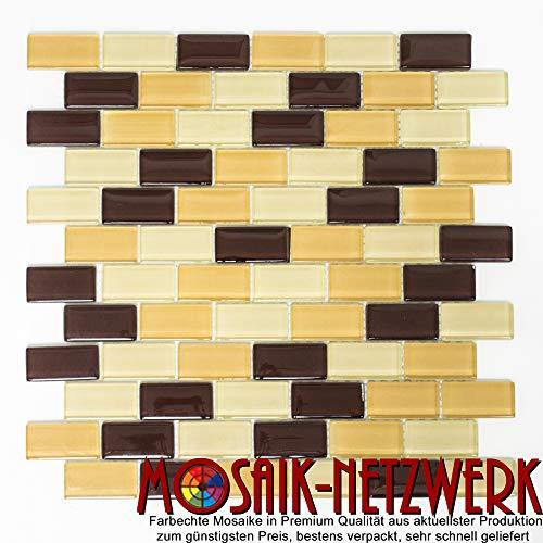 Brick B880 - Specchio con mosaico in vetro, per piastrelle, da cucina, Coffee Mix XCM