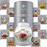 Té floral natural de Teabloom- 12 Variedades únicas de bolas de té de flores - Té verde atado a mano y flores comestibles - Recipiente para regalo de 12 paquetes - 36 tés, sirve para 250 tazas