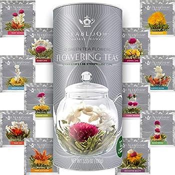 Teabloom Flowering Tea - 12 Unique Varieties of Fresh Blooming Tea Flowers - Hand-Tied Natural Green Tea Leaves & Edible Flowers - 12-Pack Gift Canister - 36 Steeps Makes 250 Cups