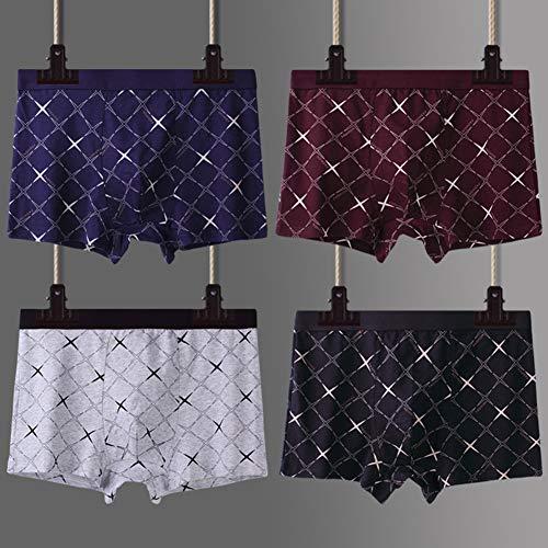 ZWLXY Männer Boxershorts Glatt Baumwolle Mit Getrennten Taschen Unterwäsche 4 Pack Boxershorts Art Und Weise Mehrfarbenstämmen,A,XL