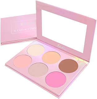 Beshine Highlighter Palette, 6-Color Highlighter Palette Brightening powder,Facial Stereoscopic Corrective Exquisite Powder for All Skin Types (Pink)