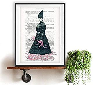 Octopus Woman Weird Vintage Printed on Real Vintage Paper from Around 1900 Annes folles Moulin Rouge Paris Folie Bergres