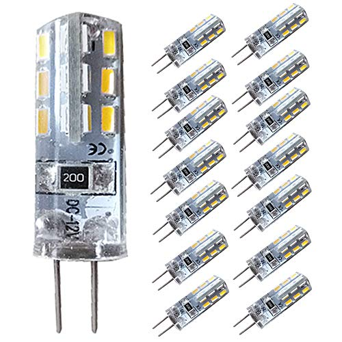 KitaBulb G4 1,5 W LED-lampen, 24 x 3014 SMD, 110 lumen, vervanging voor 10W halogeenlampen, 12V DC, koud wit, stralingshoek 360 graden, LED-lampen, LED-lampen, verpakking van 14 stuks