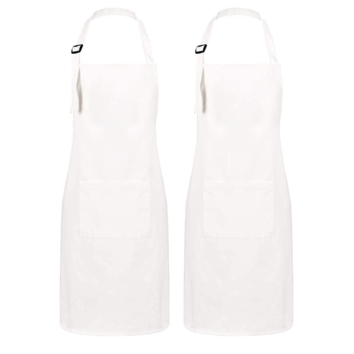 Sevenstars 2 Pack 100% Cotton Cooking Aprons with Pockets, White Kitchen Aprons Adjustable Baking Aprons for Men Women Couple Chef