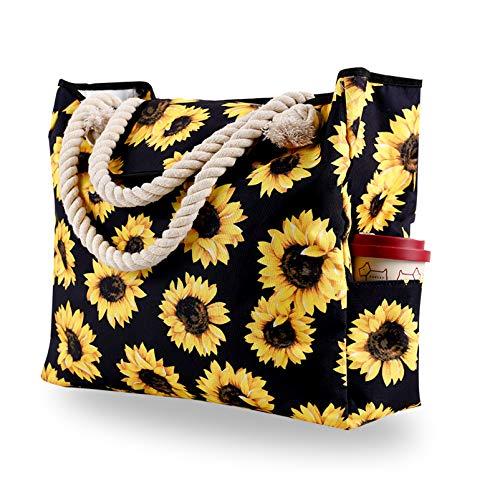 Strandtasche Große XXL Familie mit Magnetschnalle, Shopper Schultertasche Einkaufstasche Leinwand, Wasserdicht Tasche für Strand, Beach Bag Umhängetasche Badetasche Damen Herren, Sonnenblume Blumen