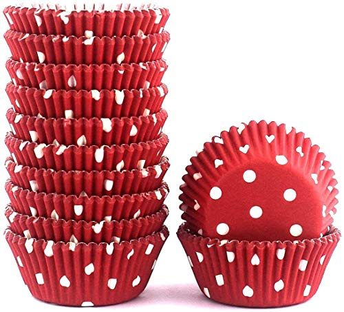 Mkustar Cupcake Liners Polka Dots Baking Cups Paper Standard Red 300 Count