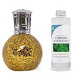 ANTIHUMEDADES Pack Lámpara Catalítica Mosaico Dorado 200 ml + Fragancia de Ambiente (Mountain Mint, 200 ml)