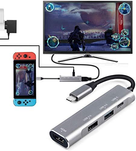 USB Tipo C para HDMI Digital AV Multiport Hub, USB-C (USB3.1) Adaptador PD Charger para Nintendo Switch, Dock portátil 4K HDMI para Samsung Dex Station S10 / 9/8 / Note8 / 9 / Tab S4 / S5, MacBook Pro / Air 2018, iPad Pro