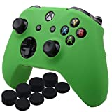 YoRHa Silicone Cover Skin Case for Microsoft Xbox One X & Xbox One S Controller x 1(Green) with Pro Thumb Grips 8 Pieces