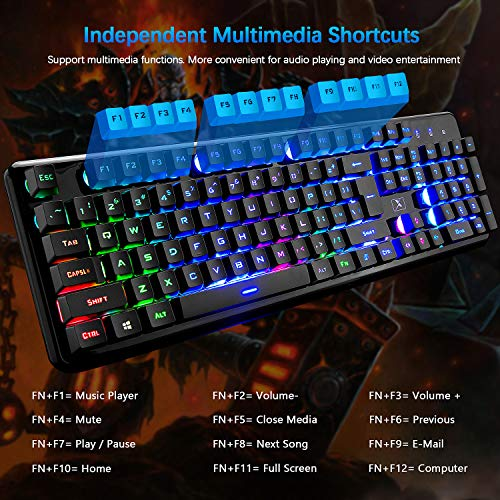 Product Image 1: Rechargeable Keyboard and Mouse,Suspended Keycap Mechanical Feel Backlit Gaming Keyboard Mice Combo,Wireless 2.4G Drive Free,Adjustable Breathing Lamp,Anti-ghosting,4800 mAh Battery for Laptop Pc Mac