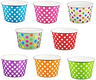 Black Cat Avenue Paper Ice Cream Cups, Polka Dot, Mix, 8 Ounce, 50 Count