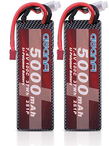 AWANFI 2S Lipo Batería 7.4V 5000mAh 100C Paquete de batería RC con Deans Plug para RC Car RC Avión Helicóptero Barco Hobby (2 pc)