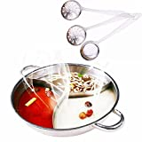 MineDecor 3 Comparts Hot Pot with Divider Stainless Steel Pot Yuanyang Pots for Electric Induction Cooktop Gas Stove (34 cm Include 3 Pot Spoons)