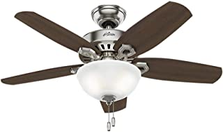 Hunter Indoor Ceiling Fan with light and pull chain control - Builder 42 inch, Brushed Nickel, 52219