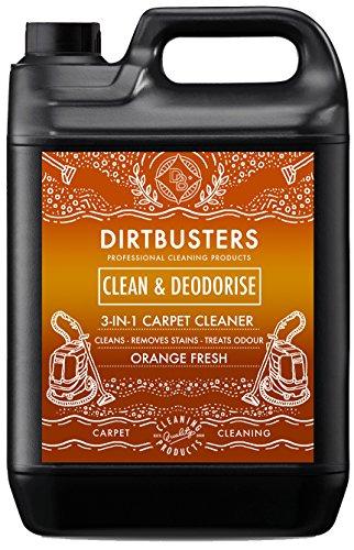 Dirtbusters 3 in 1 Teppich- und Polsterreiniger mit Orangenduft- reinigt & desodoriert - ideal für Reinigungsmaschinen - entfernt unangenehme Gerüche - 1 x 5 Liter