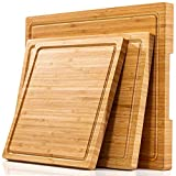 Large Cutting Boards for Kitchen (Set of 3), Thick Wood Bamboo Cheese Board Chopping Blocks for...
