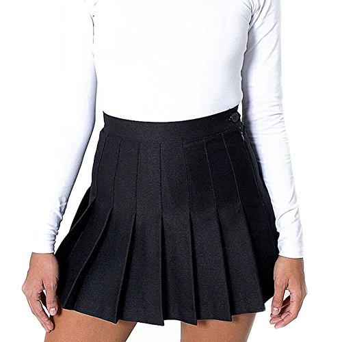 Damen Faltenrock Hohe Taille Mini Rock Basic Rock Volltonfarbe Tennis Röcke Retro Skater Rock XS-XL