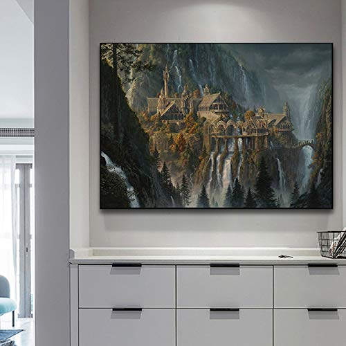 tzxdbh HD Canvas Prints Muur Art Lotr Rivendell Lord Of The Rings Posters Hobbit Olieverfschilderij Decoratieve Beeld Moderne Home Decoration-in 70x105 cm No Frame