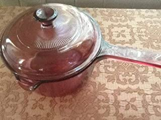 Corning Ware Visions Cranberry Lid and 1L Saucepan with Pour Spout